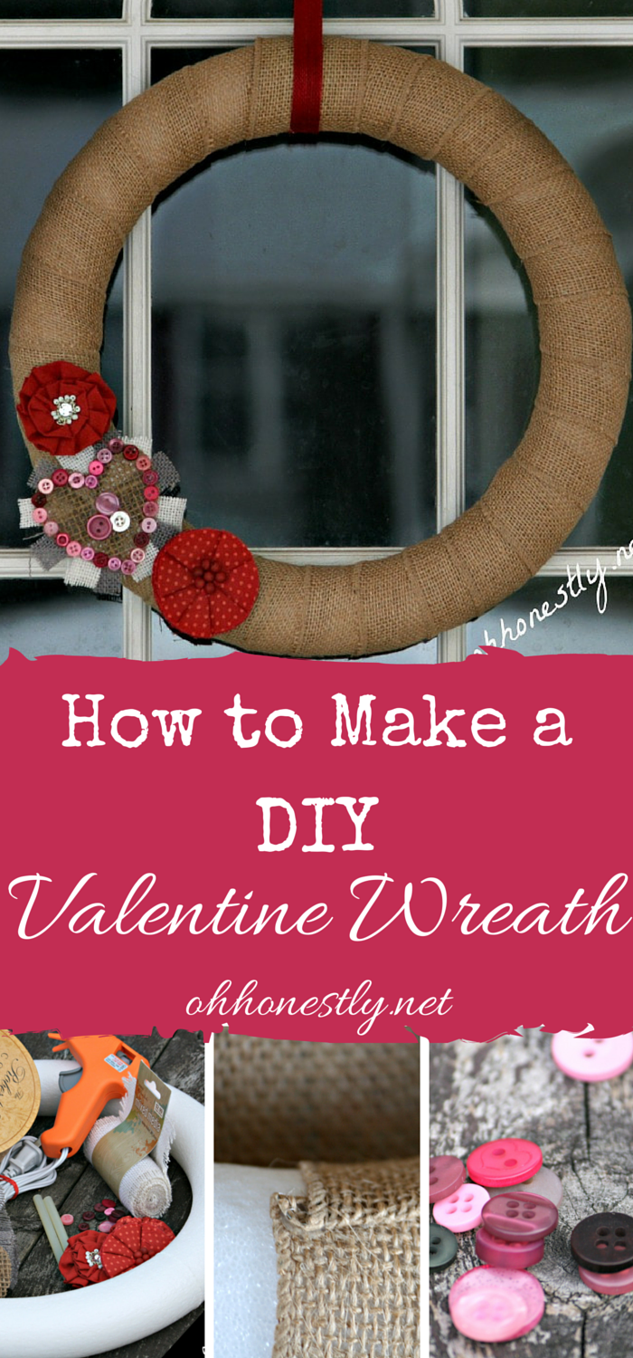 You can make this simple and adorable DIY Valentine Wreath with just a few basic materials, some of which you might already have at home!