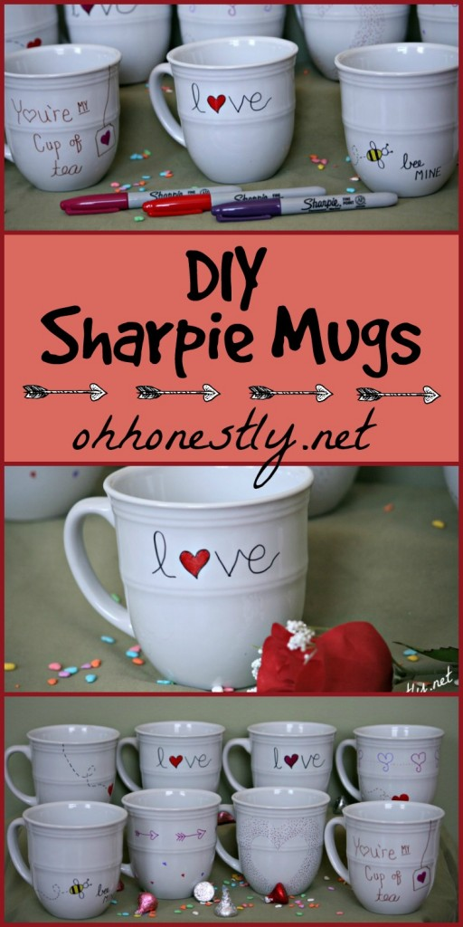 DIY Sharpie Mugs Valentine's Day