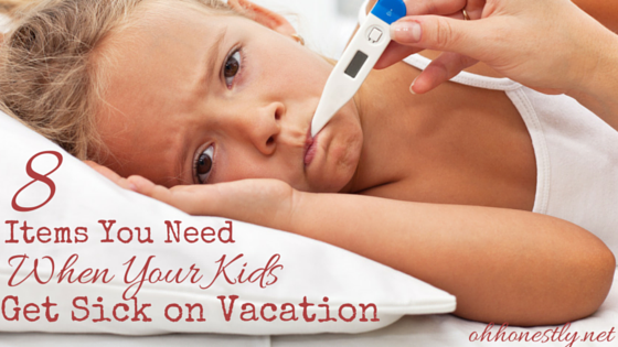 An inevitable part of parenting is having your kids get sick while you're on vacation. Even though you hope for the best, it's smart to plan for the worst. Here's what you need in your hotel room if your kids get sick.