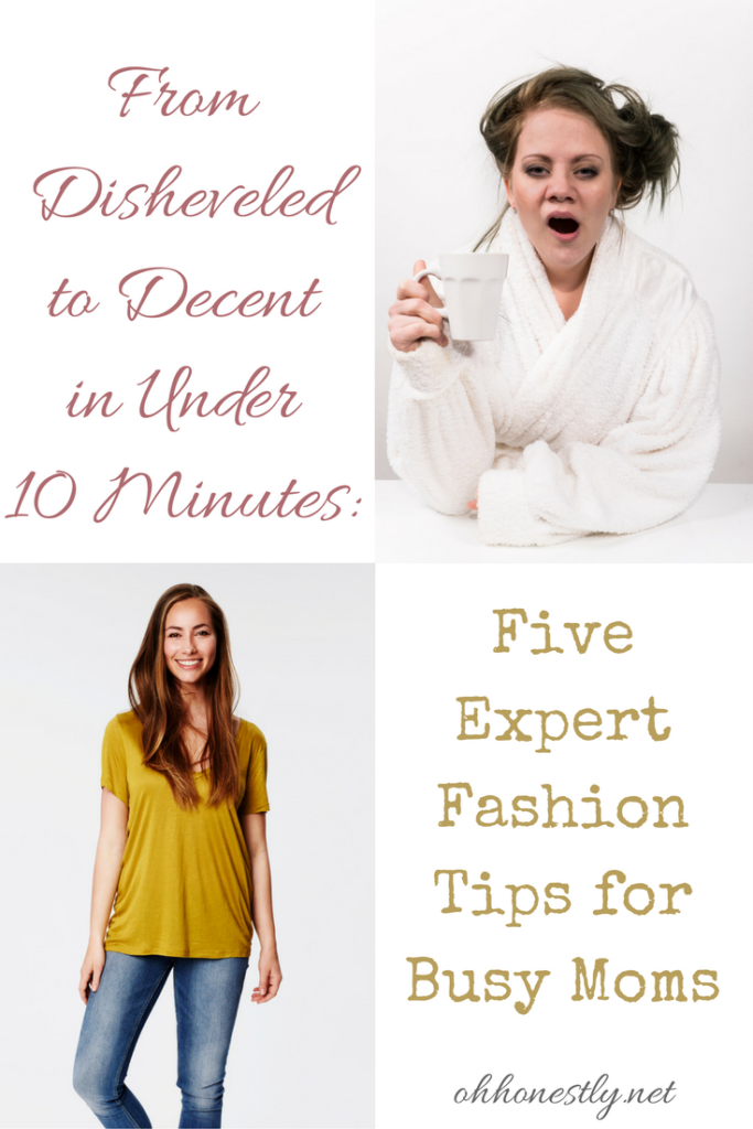 Sick of wearing your PJs to school drop-off? These simple fashion tips for busy moms will have you looking put together in under 10 minutes!