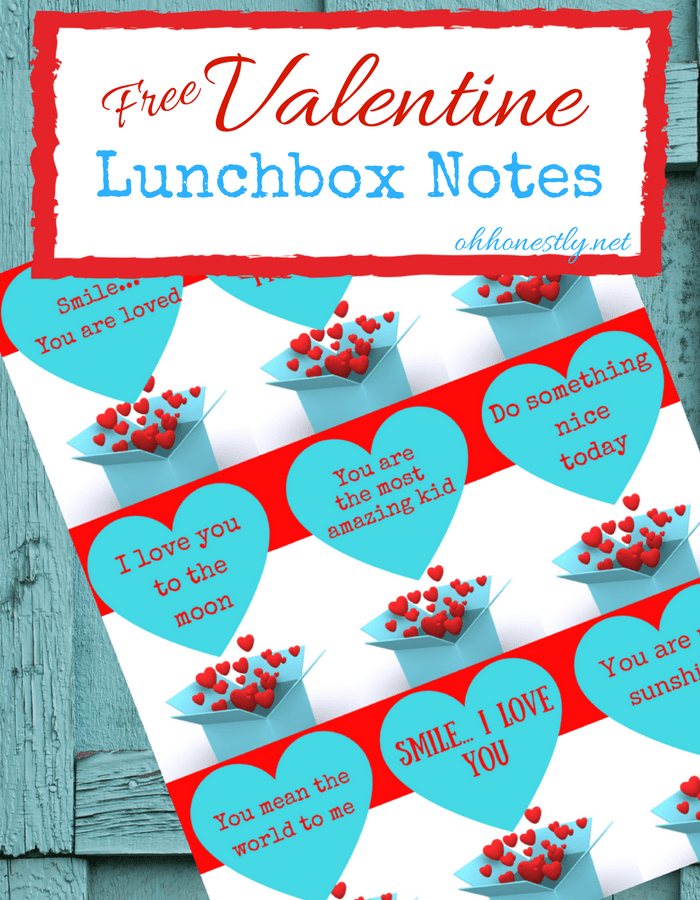 Make your kids smile with these free printable lunchbox notes, perfect for February (Valentine's Day!) or any time of year!