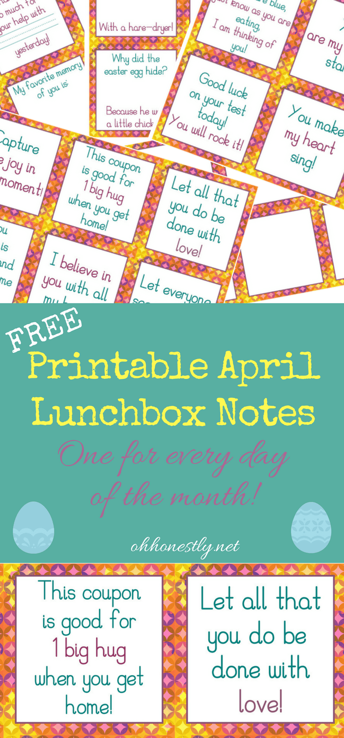 Give your kids a midday pick-me-up with these fun, encouraging, and free printable April lunchbox notes. They're perfect for the month of April and Easter!