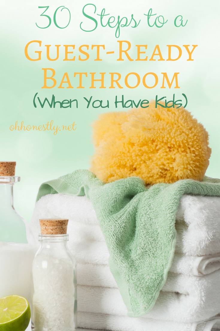 Have guests coming for a visit? If you have kids, you know how gross your bathrooms can get. Here's a (humorous) step-by-step guide to getting them in ship-shape condition for your visitors.